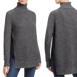 Aqua Cashmere Gray Side Slit Turtleneck Sweater S